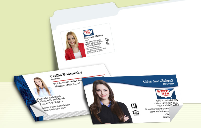 West USA Realty Real Estate Business Card Labels - West USA Realty  personalized stickers with contact info | BestPrintBuy.com