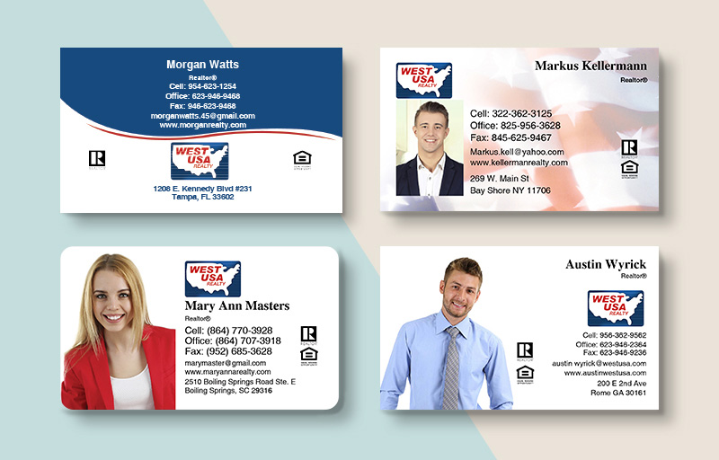 West USA Realty Real Estate Standard Business Cards - West USA Realty Standard & Rounded Corner Business Cards for Realtors | BestPrintBuy.com