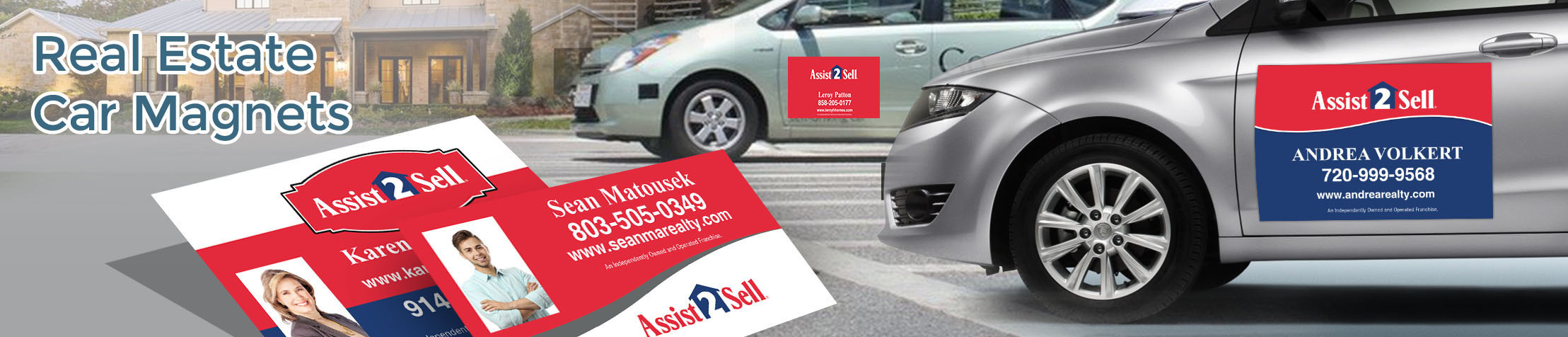 Assit2Sell Real Estate  Car Magnets - Assit2Sell Real Estate custom car magnets for realtors, with or without photo | BestPrintBuy.com
