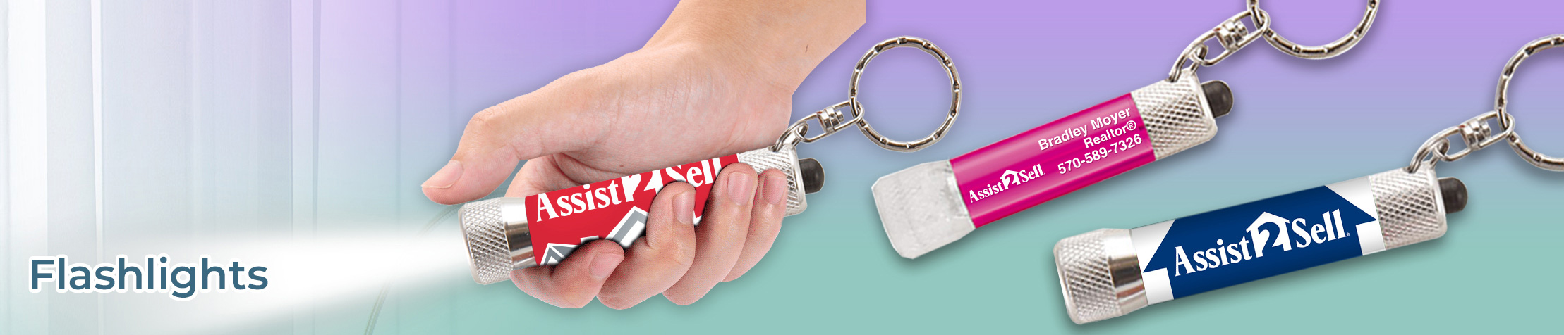 Assist2Sell Real Estate Flashlights - Assist2Sell Real Estate personalized flashlight key chain promotional items | BestPrintBuy.com