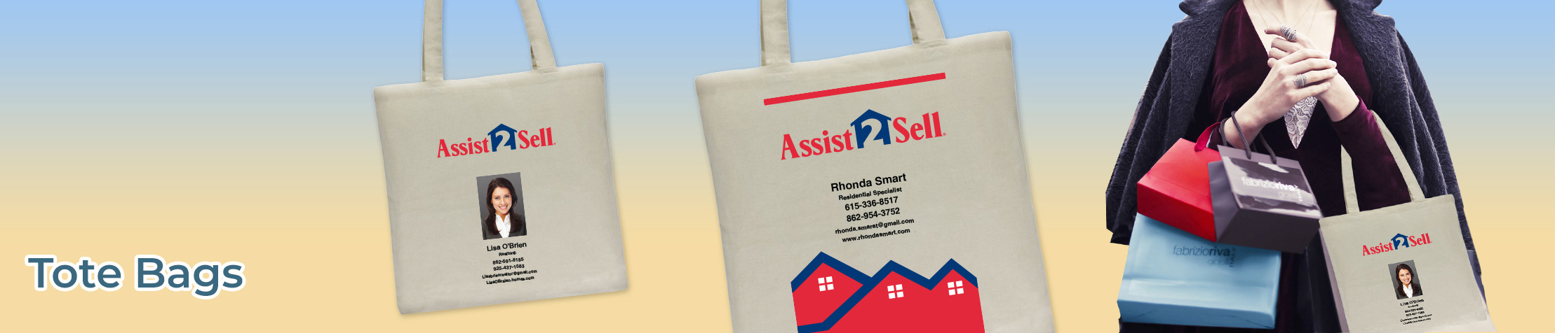 Assit2Sell Real Estate Tote Bags - Assit2Sell Real Estate  personalized realtor promotional products | BestPrintBuy.com