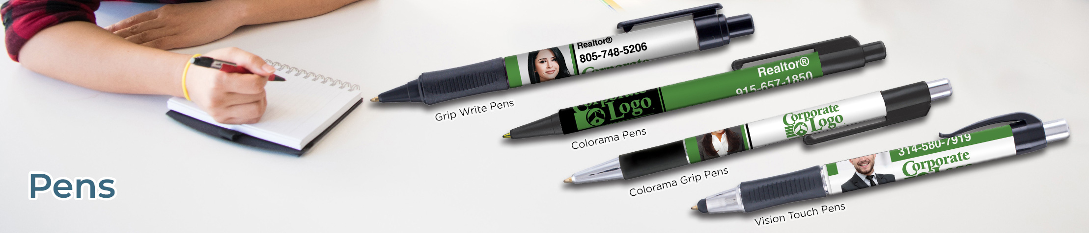 Better Homes and Gardens Real Estate Personalized Pens - BHGRE promotional products: Grip Write Pens, Colorama Pens, Vision Touch Pens, and Colorama Grip Pens | BestPrintBuy.com