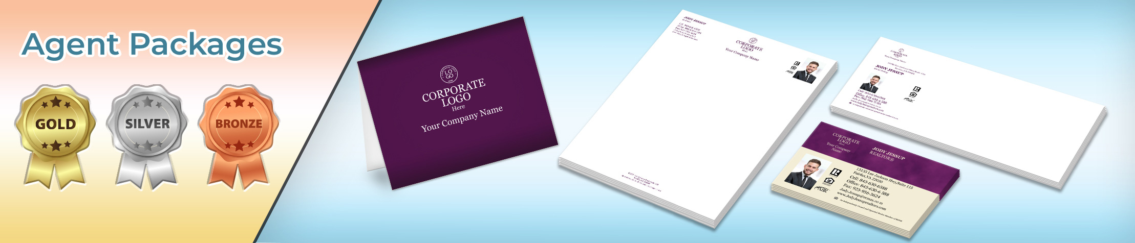 Berkshire Hathaway Real Estate Gold, Silver and Bronze Agent Packages - Berkshire Hathaway personalized business cards, letterhead, envelopes and note cards | BestPrintBuy.com