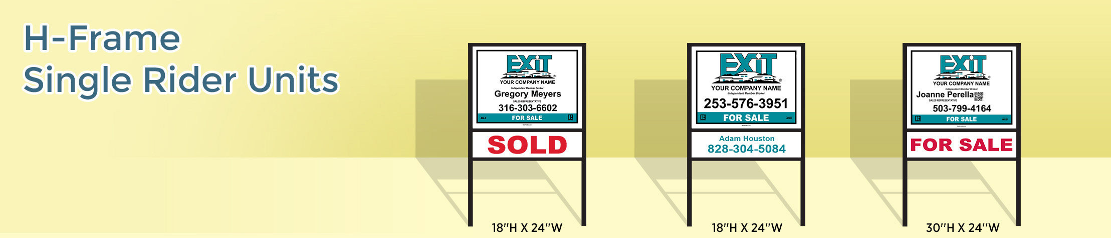 Exit Realty H-Frame Single Rider Units - Exit Realty approved vendor real estate signs | BestPrintBuy.com