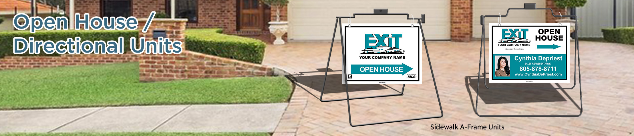 Exit Realty Open House/Directional Units - Exit Realty approved vendor real estate Sidewalk A-Frame signs | BestPrintBuy.com