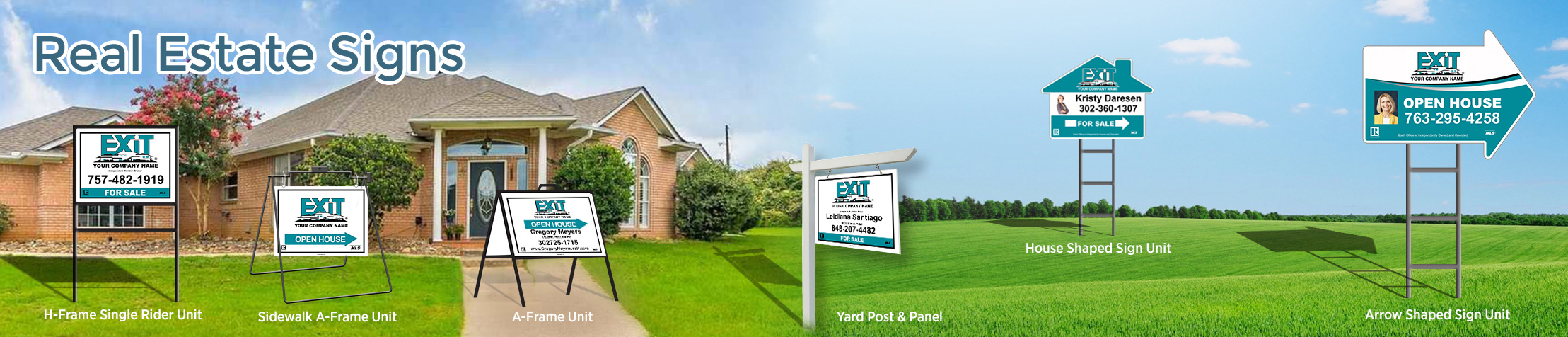 Exit Realty Signs - Exit Realty approved vendor real estate signs - H-Frame Units, Directional Signs, A-Frame Units, Yard Post and Panel | BestPrintBuy.com