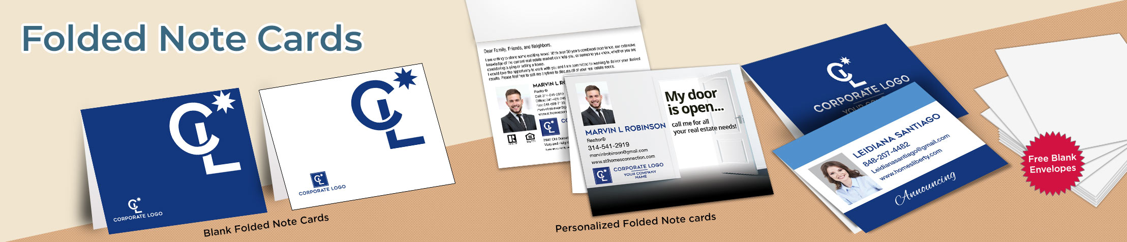 Coldwell Banker Real Estate Folded Note Cards - Coldwell Banker stationery | BestPrintBuy.com