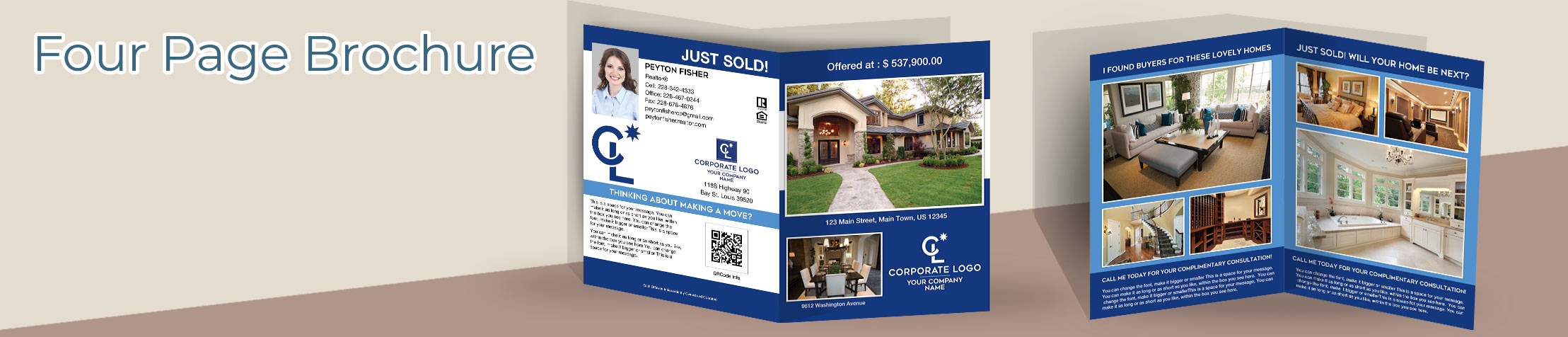 Coldwell Banker Real Estate Flyers and Brochures - Coldwell Banker four page brochure templates for open houses and marketing | BestPrintBuy.com