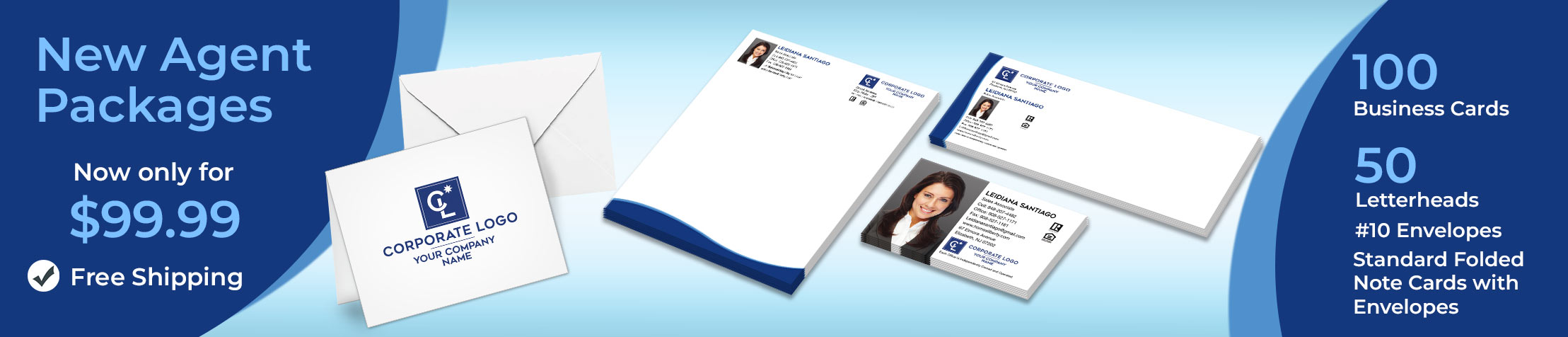 Coldwell Banker Real Estate New Agent Package - Coldwell Banker personalized business cards, letterhead, envelopes and note cards with free shipping | BestPrintBuy.com