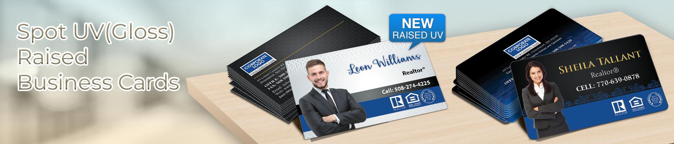 Coldwell Banker Real Estate Spot UV(Gloss) Raised Business Cards - Coldwell Banker - Glossy, Embossed Business Cards for Realtors | BestPrintBuy.com