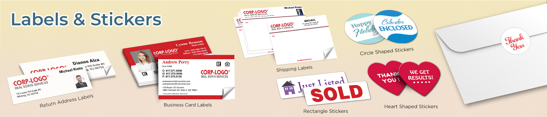 Crye-Leike Realtors Real Estate Labels and Stickers - Crye-Leike Realtors  business card labels, return address labels, shipping labels, and assorted stickers | BestPrintBuy.com