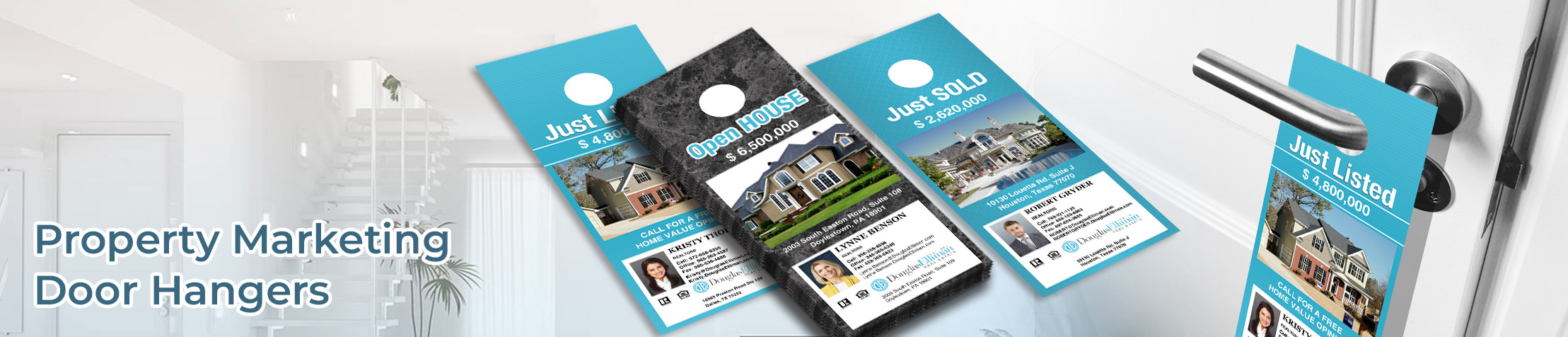 Douglas Elliman Real Estate Property Marketing Door Hangers - Douglas Elliman Real Estate Door Knockers for Realtors | BestPrintBuy.com