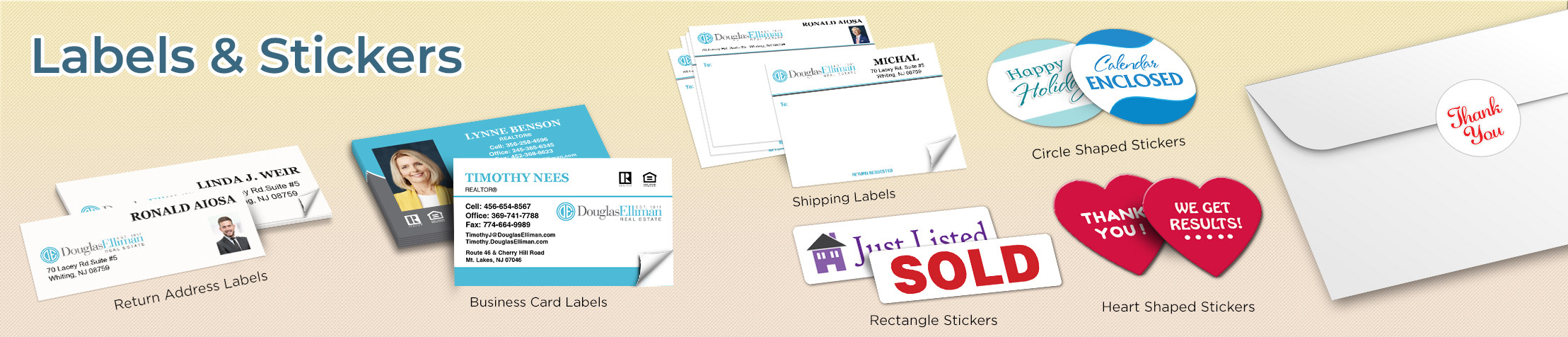 Douglas Elliman Real Estate Labels and Stickers - Douglas Elliman Real Estate business card labels, return address labels, shipping labels, and assorted stickers | BestPrintBuy.com