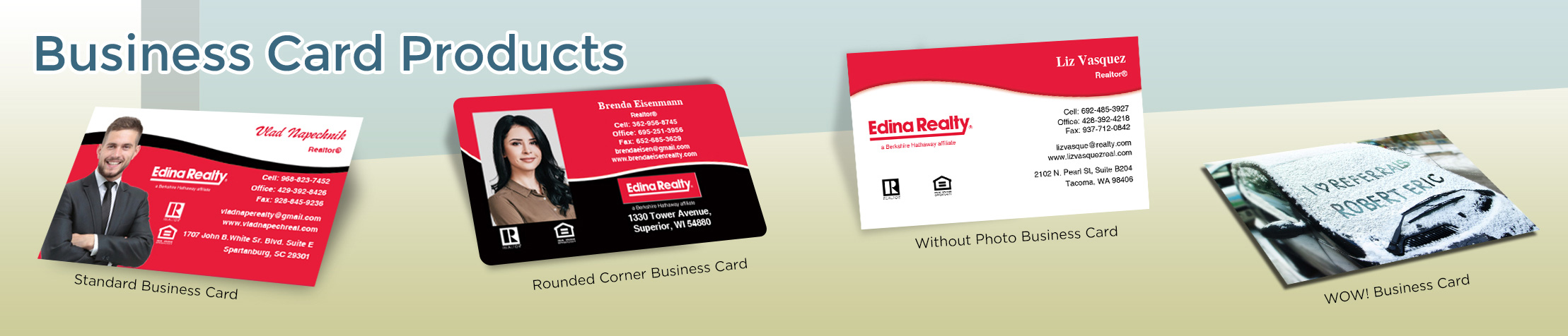 Edina Realty  Business Card Products - Edina Realty  - Unique, Custom Business Cards Printed on Quality Stock with Creative Designs for Realtors | BestPrintBuy.com
