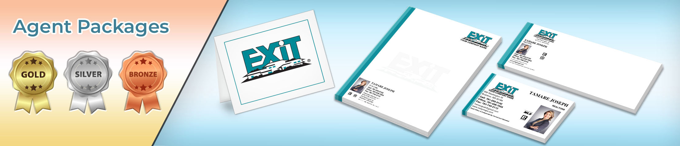 Exit Realty Real Estate Gold, Silver and Bronze Agent Packages - Exit Realty approved vendor personalized business cards, letterhead, envelopes and note cards | BestPrintBuy.com
