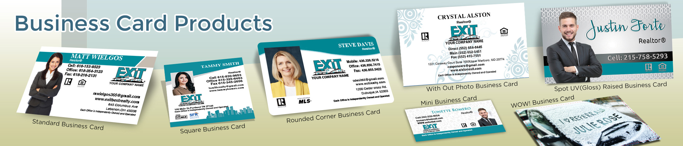 Exit Realty Real Estate Business Card Products - Exit Realty Approved Vendor - Unique, Custom Business Cards Printed on Quality Stock with Creative Designs for Realtors | BestPrintBuy.com