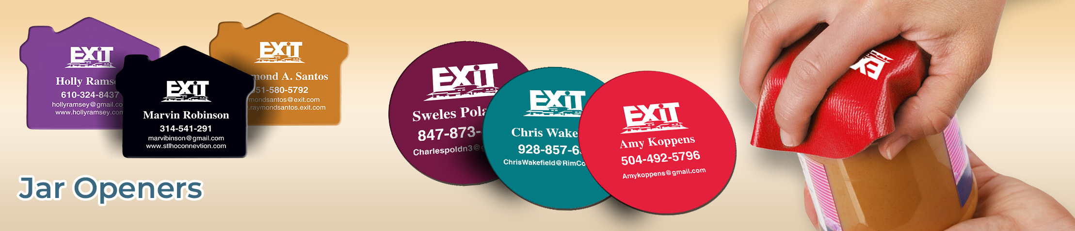 Exit Realty Real Estate Jar Openers - Exit Realty approved vendor personalized realtor promotional products | BestPrintBuy.com