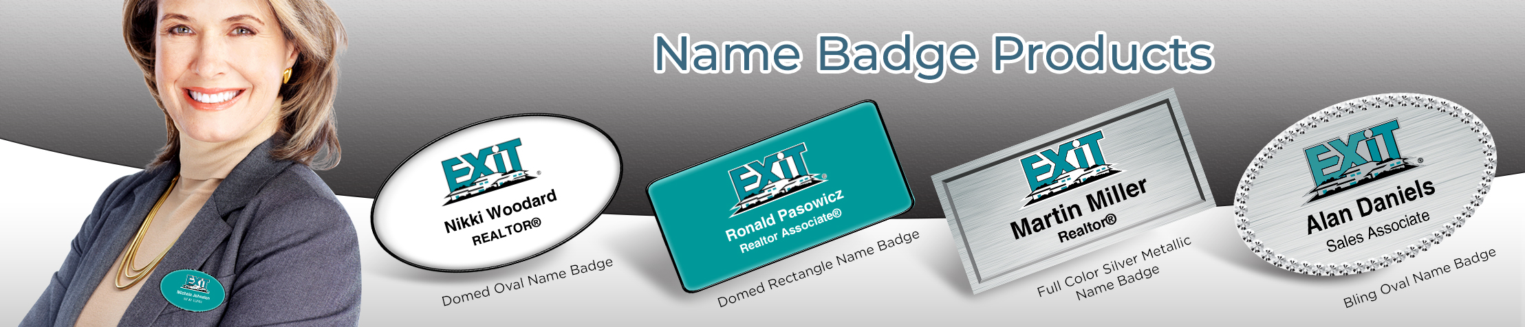 Exit Realty Real Estate Name Badge Products - Exit Realty Approved Vendor Name Tags for Realtors | BestPrintBuy.com