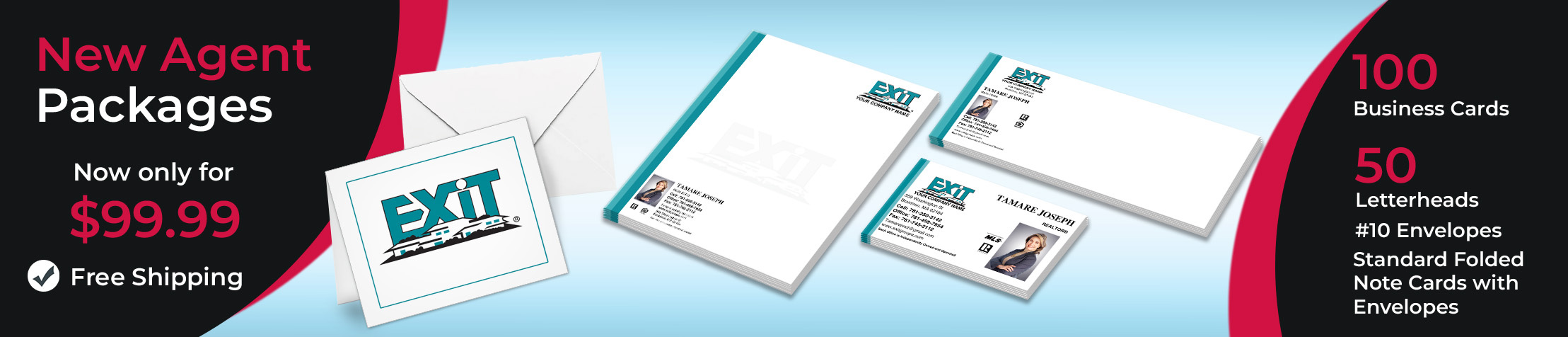 Exit Realty Real Estate New Agent Package - Exit Realty approved vendor personalized business cards, letterhead, envelopes and note cards with free shipping | BestPrintBuy.com
