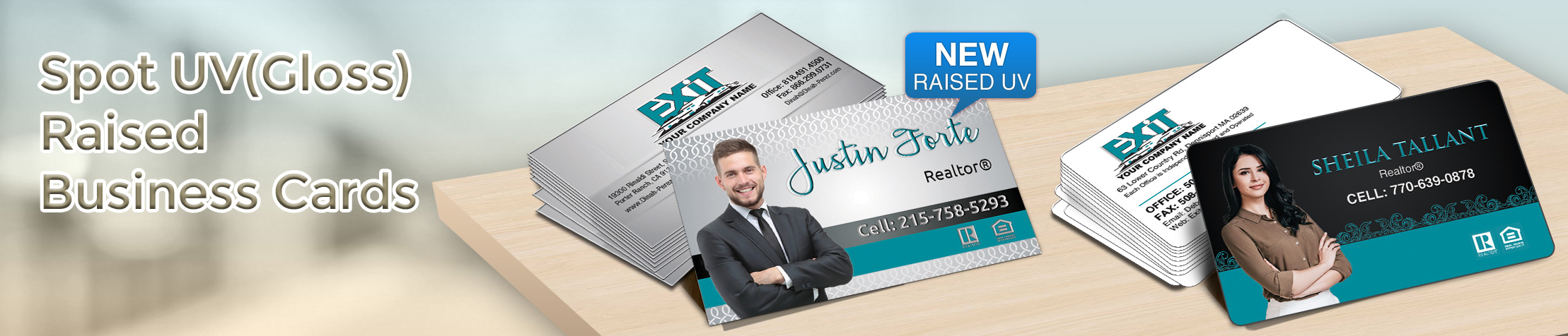 Exit Realty Spot UV(Gloss) Raised Business Cards - Exit Realty Approved Vendor - Glossy, Embossed Business Cards for Realtors | BestPrintBuy.com