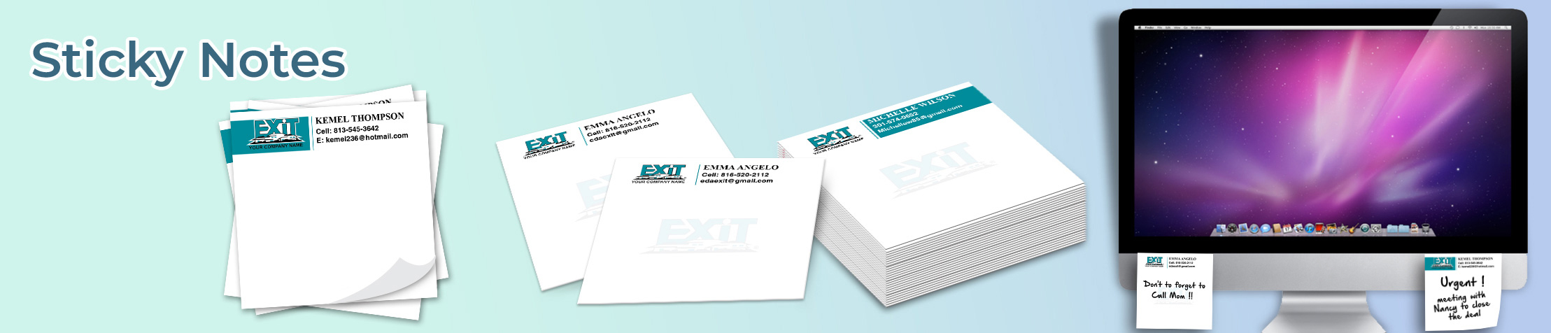 Exit Realty Sticky Notes - Exit Realty approved vendor personalized realtor post it note pads | BestPrintBuy.com
