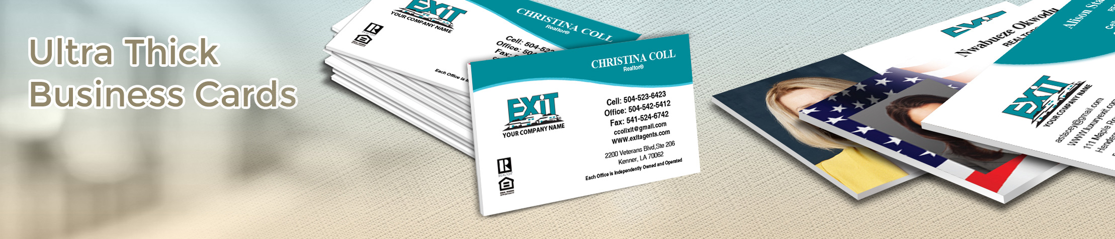 Exit Realty Ultra Thick Business Cards - Exit Realty Approved Vendor - Luxury, Thick Stock Business Cards with a Matte Finish for Realtors | BestPrintBuy.com