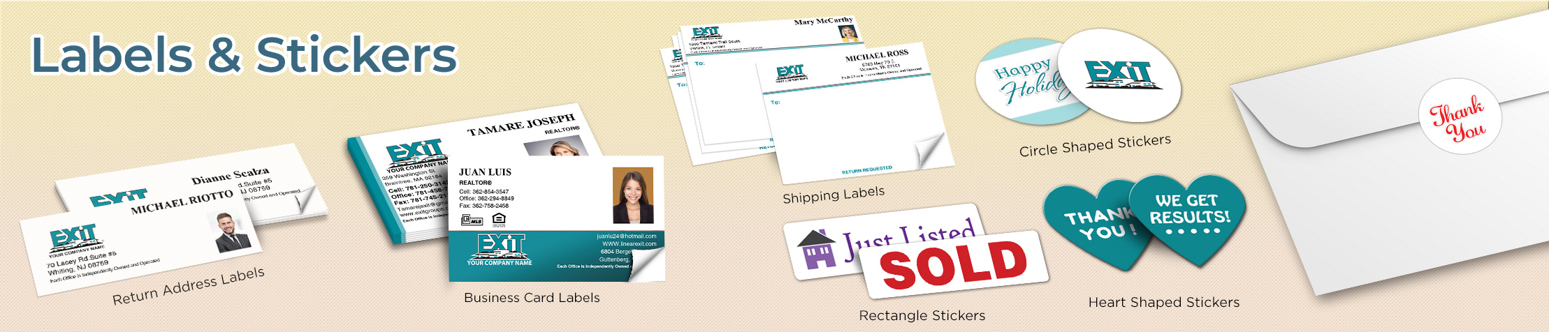 Exit Realty Real Estate Labels and Stickers - Exit Realty approved vendor business card labels, return address labels, shipping labels, and assorted stickers | BestPrintBuy.com
