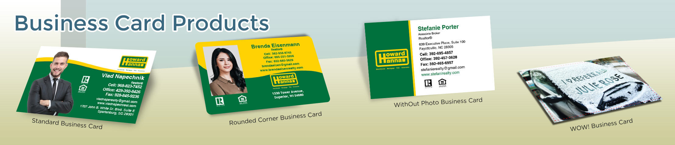 Howard Hanna Real Estate Business Card Products - Howard Hanna  - Unique, Custom Business Cards Printed on Quality Stock with Creative Designs for Realtors | BestPrintBuy.com
