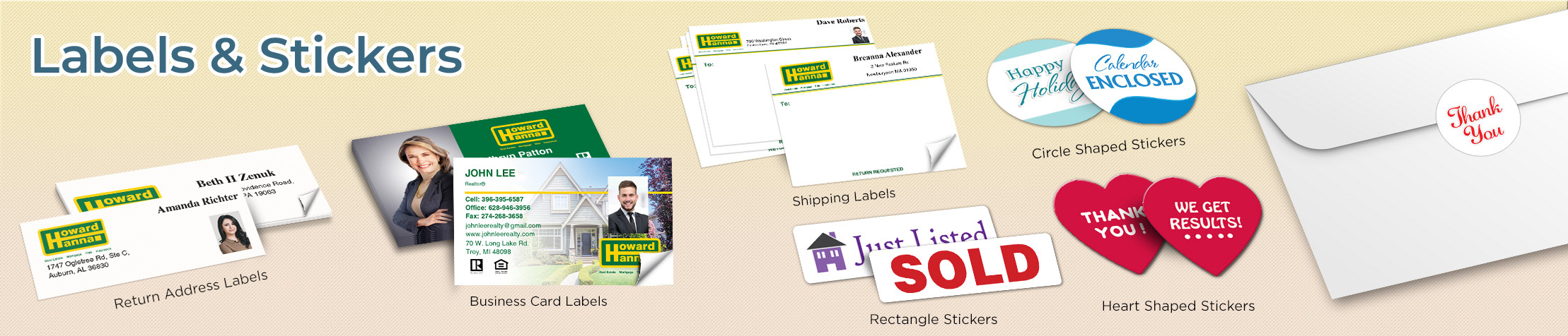 Howard Hanna Real Estate Labels and Stickers - Howard Hanna  business card labels, return address labels, shipping labels, and assorted stickers | BestPrintBuy.com