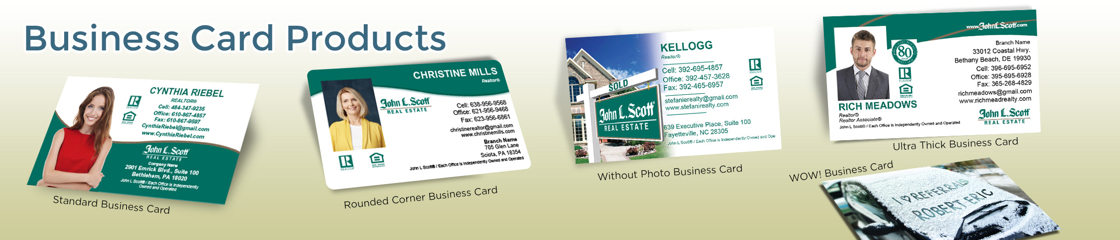 John L. Scott Real Estate Business Card Products - John L. Scott Real Estate - Unique, Custom Business Cards Printed on Quality Stock with Creative Designs for Realtors | BestPrintBuy.com