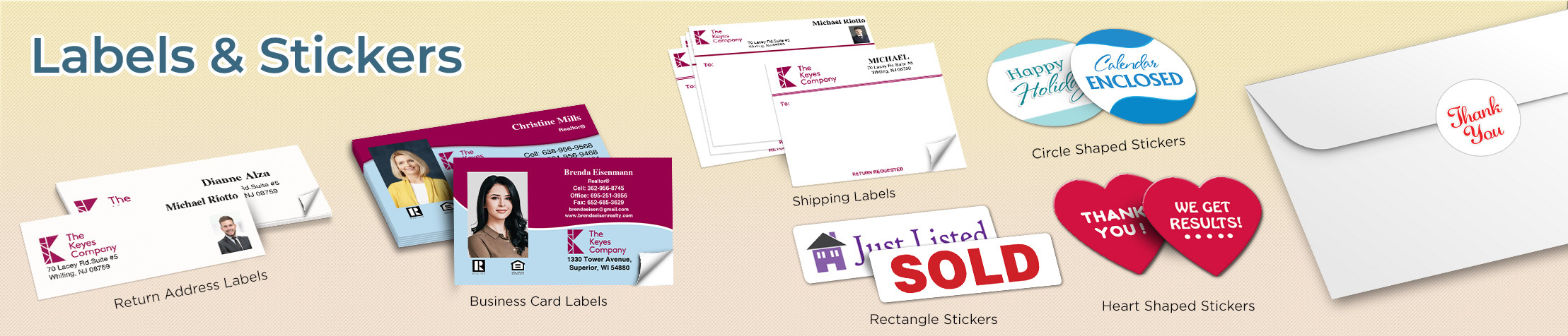 The Keyes Company Real Estate Labels and Stickers - The Keyes Company  business card labels, return address labels, shipping labels, and assorted stickers | BestPrintBuy.com