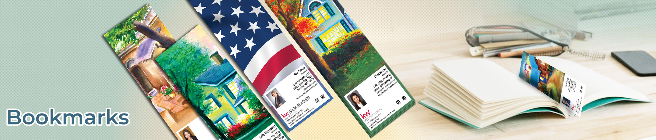 Keller Williams Real Estate Bookmarks - KW approved vendor custom realtor bookmarks | BestPrintBuy.com