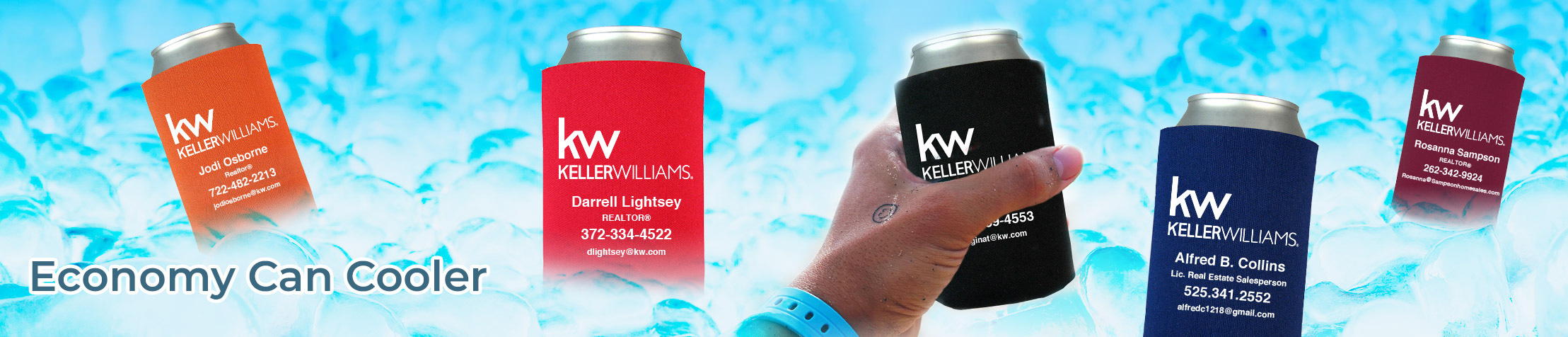 Keller Williams Real Estate Economy Can Cooler - KW approved vendor personalized realtor promotional products | BestPrintBuy.com