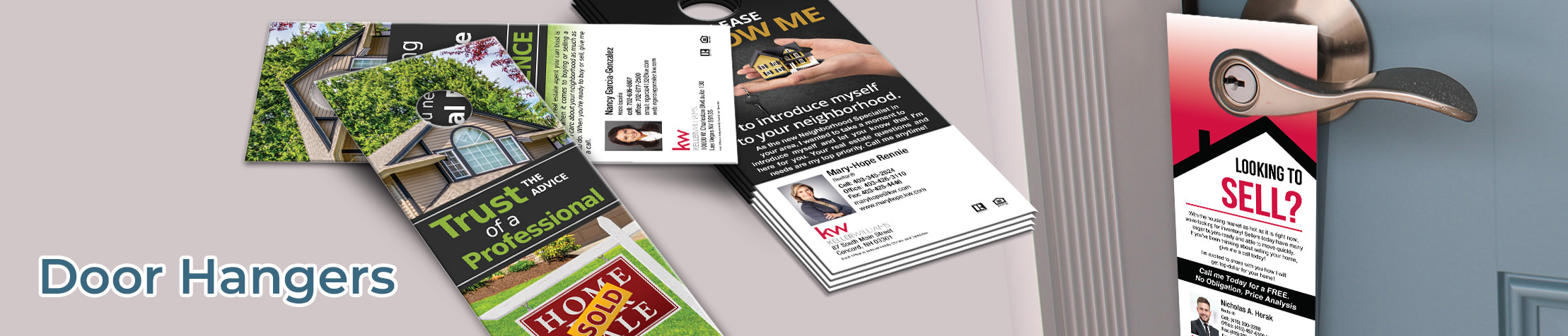 Keller Williams Real Estate Door Hangers - KW Approved Vendor Gloss Door Knockers for Realtors | BestPrintBuy.com