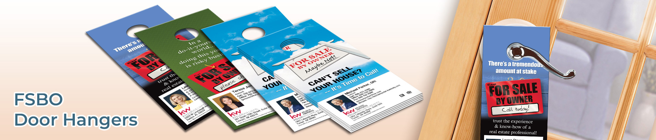 Keller Williams FSBO Door Hangers - KW Approved Vendor Gloss Door Knockers for Realtors | BestPrintBuy.com