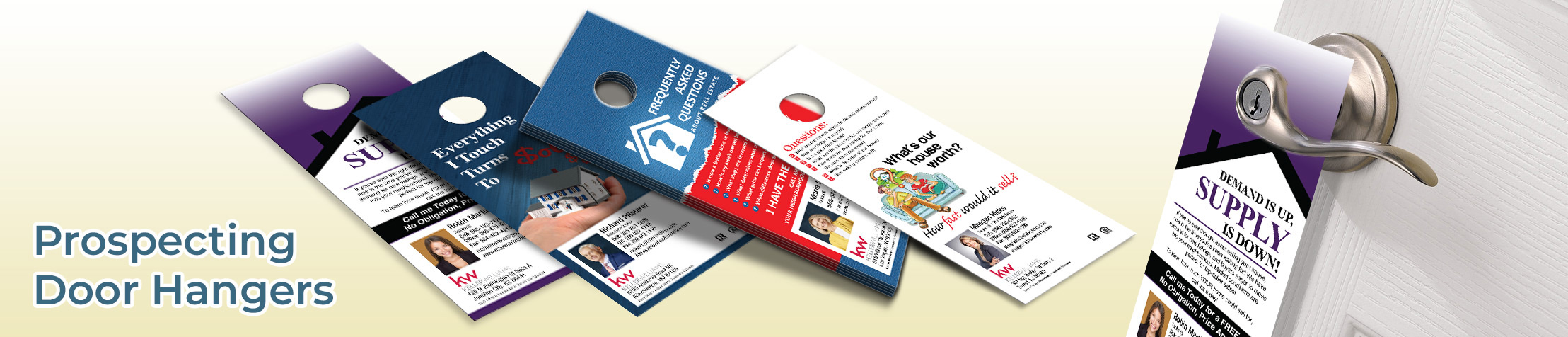 Keller Williams Prospecting Door Hangers - KW Approved Vendor Gloss Door Knockers for Realtors | BestPrintBuy.com