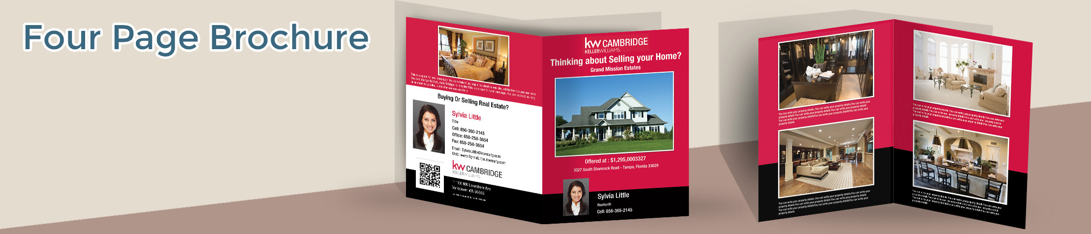 Keller Williams Real Estate Flyers and Brochures - KW approved vendor four page brochure templates for open houses and marketing | BestPrintBuy.com
