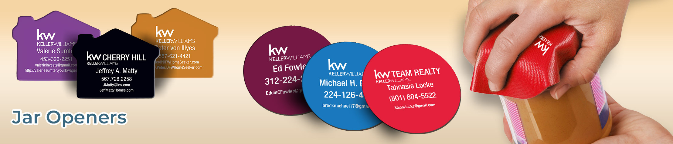 Keller Williams Real Estate Jar Openers - KW approved vendor personalized realtor promotional products | BestPrintBuy.com