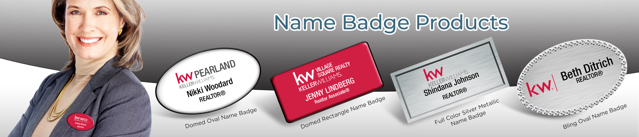 Keller Williams Real Estate Name Badge Products - KW Approved Vendor Name Tags for Realtors | BestPrintBuy.com