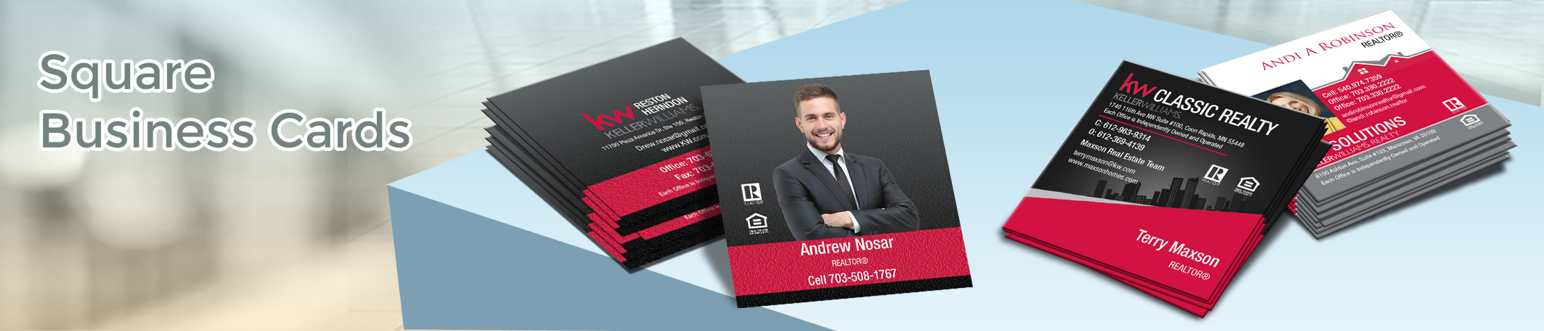 Keller Williams Real Estate Square Business Cards - KW Approved Vendor - Modern, Unique Business Cards for Realtors with a Glossy or Matte Finish | BestPrintBuy.com