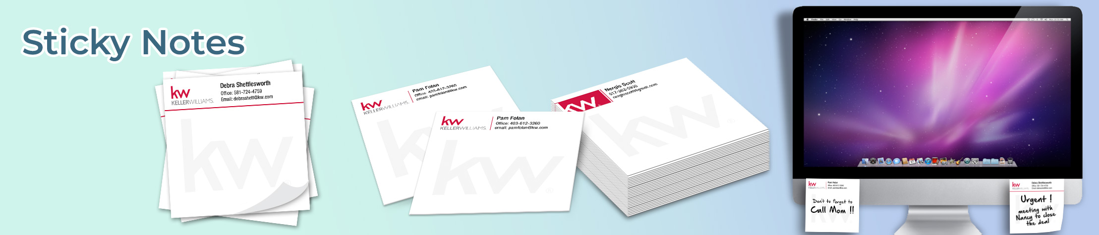 Keller Williams Real Estate Sticky Notes - KW approved vendor personalized realtor post it note pads | BestPrintBuy.com