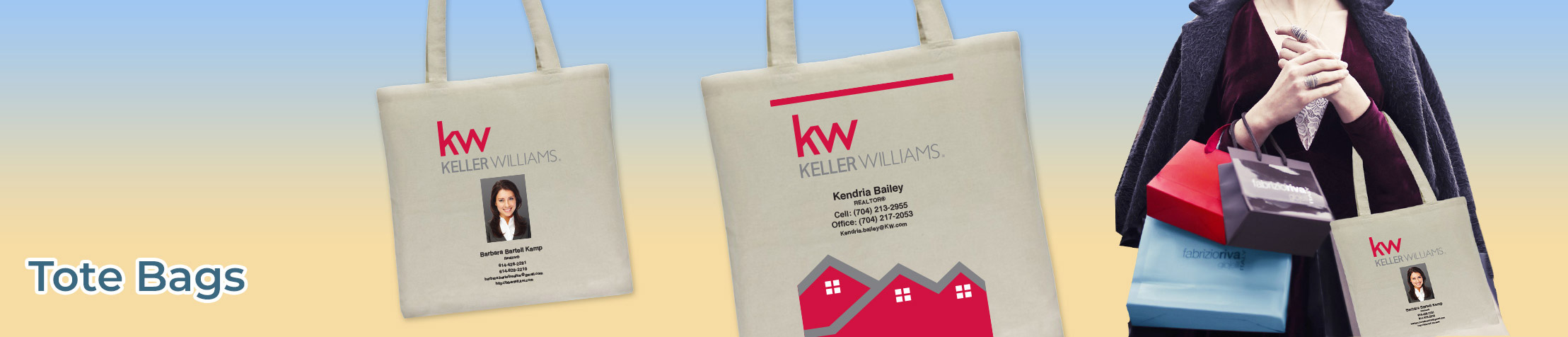 Keller Williams Real Estate Tote Bags - KW approved vendor personalized realtor promotional products | BestPrintBuy.com