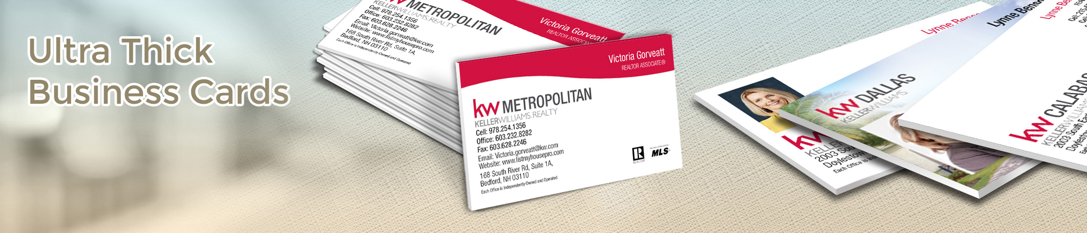 Keller Williams Real Estate Ultra Thick Business Cards - KW Approved Vendor - Luxury, Thick Stock Business Cards with a Matte Finish for Realtors | BestPrintBuy.com