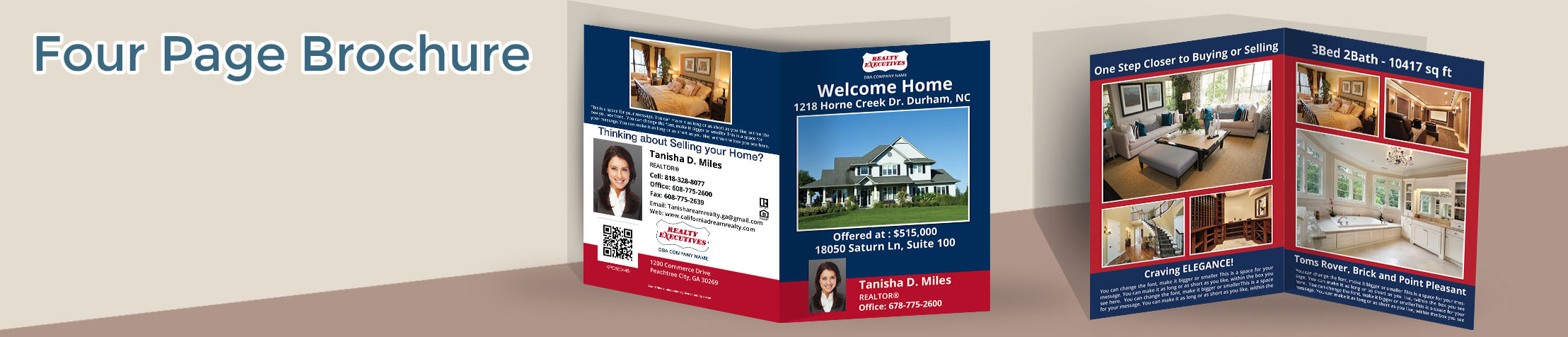 Realty Executives Real Estate Flyers and Brochures - Realty Executives  four page brochure templates for open houses and marketing | BestPrintBuy.com
