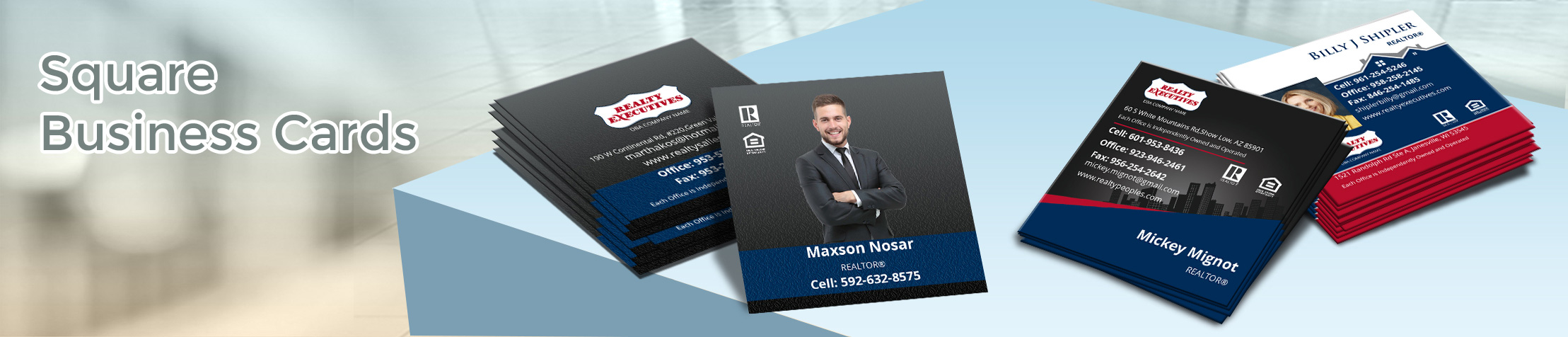 Realty Executives Real Estate Square Business Cards - Realty Executives - Modern, Unique Business Cards for Realtors with a Glossy or Matte Finish | BestPrintBuy.com