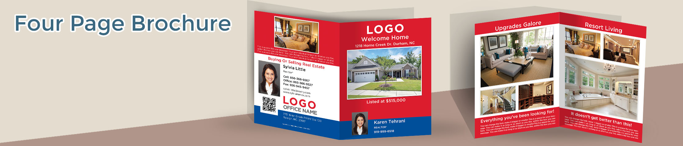 RE/MAX Real Estate Flyers and Brochures - RE/MAX four page brochure templates for open houses and marketing | BestPrintBuy.com