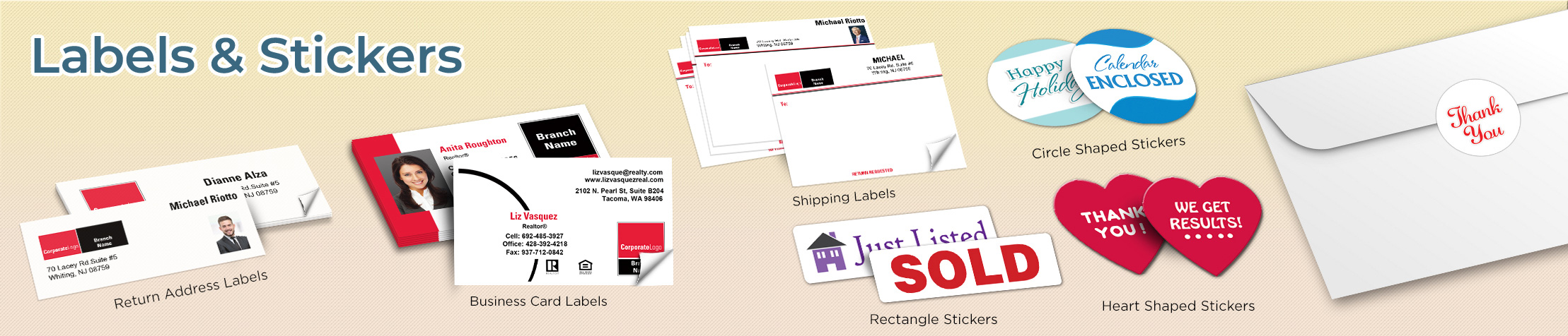 Real Living Real Estate Labels and Stickers - Real Living Real Estate business card labels, return address labels, shipping labels, and assorted stickers | BestPrintBuy.com