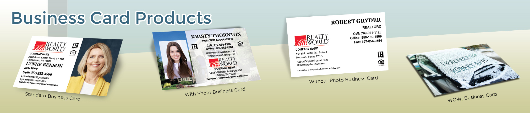 Realty World Real Estate Business Card Products - Realty World  - Unique, Custom Business Cards Printed on Quality Stock with Creative Designs for Realtors | BestPrintBuy.com