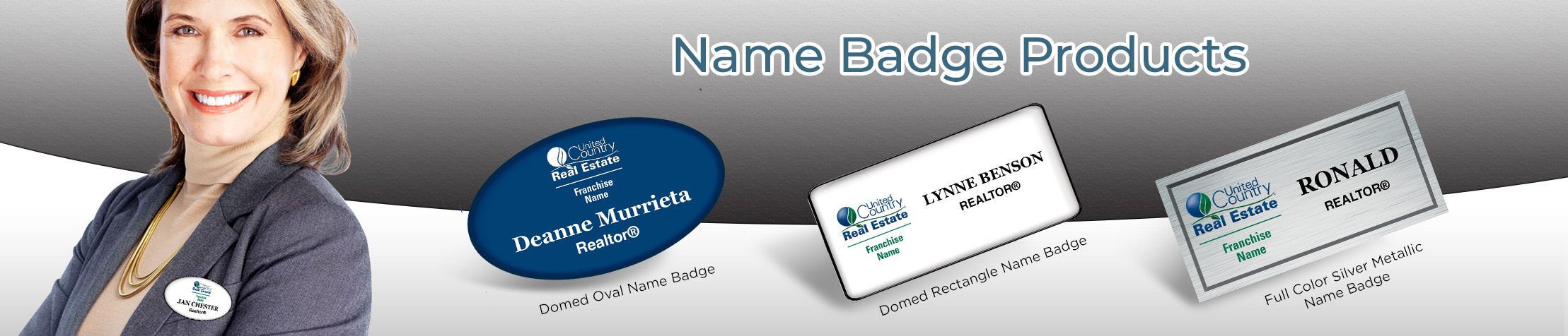 United Country Real Estate Name Badge Products - United Country Real Estate Name Tags for Realtors | BestPrintBuy.com