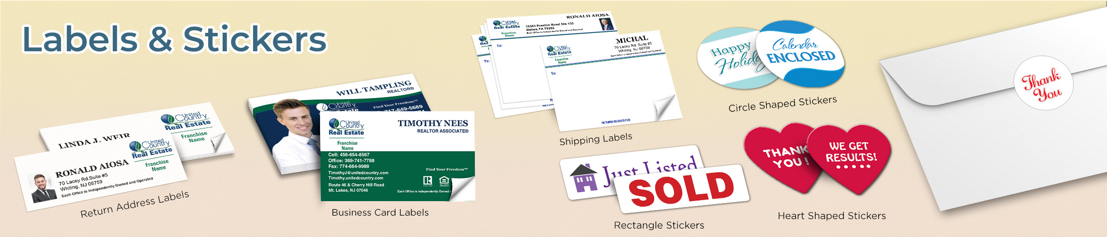 United Country Real Estate Labels and Stickers - United Country Real Estate  business card labels, return address labels, shipping labels, and assorted stickers | BestPrintBuy.com